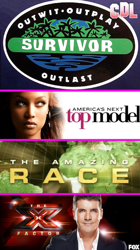 Four Reality TV Shows that Just Might Cause Your World to End in 2012: Survivor, X-Factor, America's Next Top Model, and Amazing Race