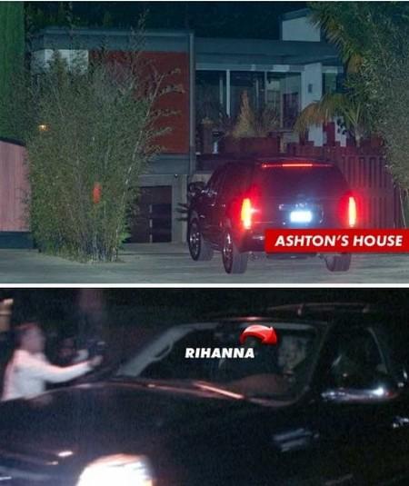 Rihanna Goes To Ashton Kutcher's Home For Late Night Sex (Photo)