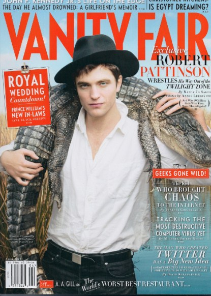 Robert Pattinson All Kinds Of Sexy With Aligator On Vanity Fair Cover - Photos