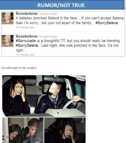 Selena Gomez Punched In The Face By A Justin Bieber Fan? WRONG!