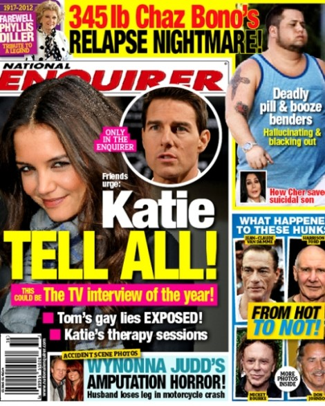 Cher's son, Enquirer cover story, Tom Cruise's Gay, Katie Holmes Tell All 0822