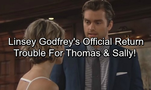 The Bold and the Beautiful Spoilers: Linsey Godfrey Announces Caroline's Return – Back to Break Up Thomas and Sally