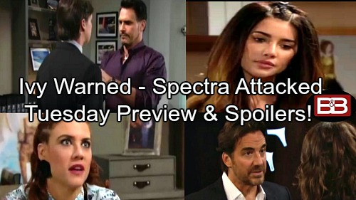 The Bold and the Beautiful Spoilers: Ridge Warns Ivy to Keep Quiet - Spectra Under Attack, Bill Puts Sabotage Plan in Motion