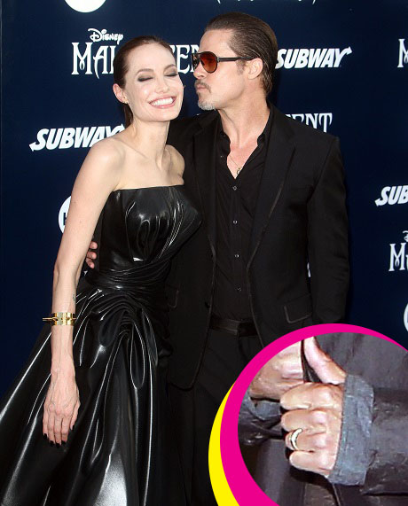 Brad Pitt Wedding Ring: Marriage Band Given by Angelina Jolie to Brad - Film Event for Fury! (PHOTO)