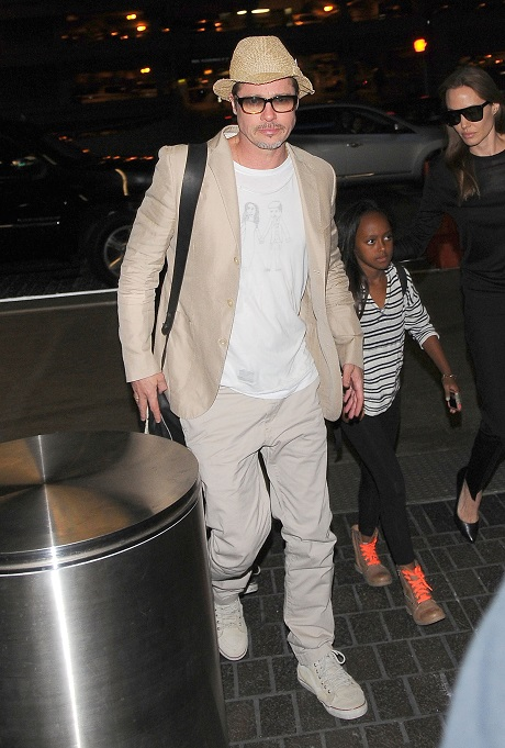 Brad Pitt and Angelina Jolie Wedding Message: Brad Wears Bride and Groom Shirt At LAX - Marry Angelina Jolie Soon?