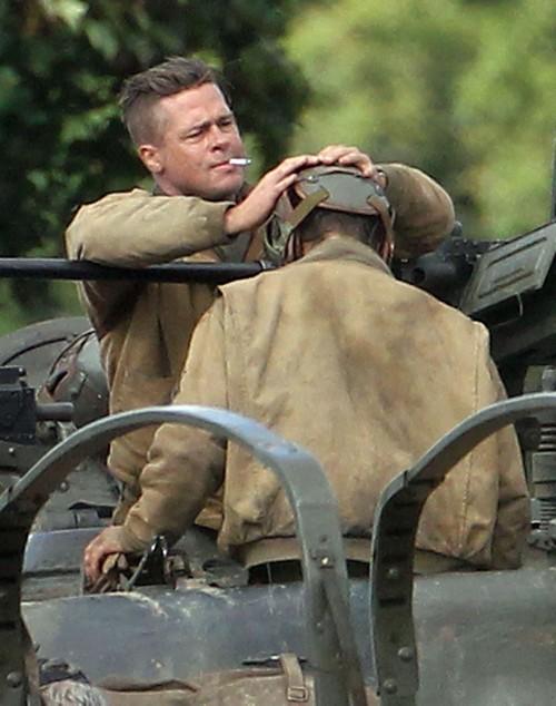 Brad Pitt And Shia LaBeouf Fighting On The Set Of WWII Film Fury - (PHOTOS)