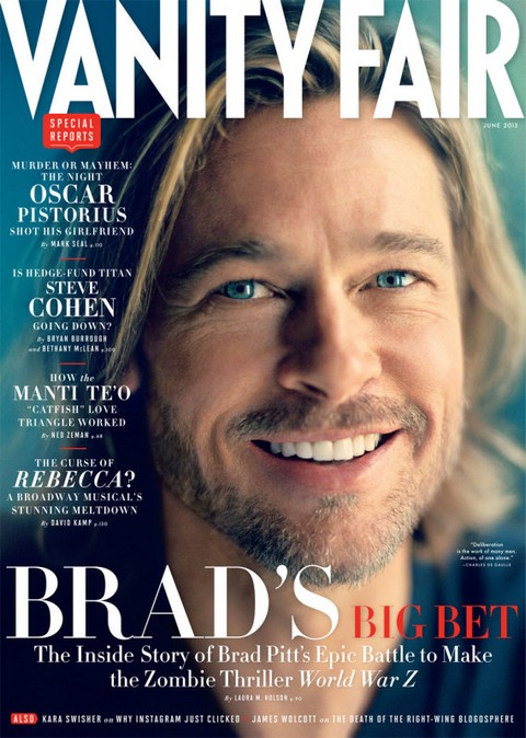 "Brad Pitt Covers Vanity Fair – Tries To Salvage $200 Million Disaster ""World War Z"""