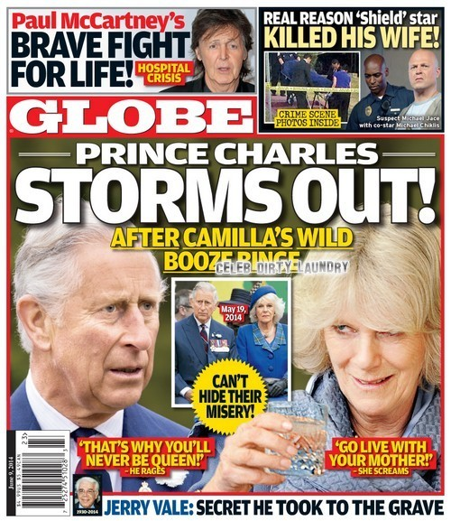 GLOBE: Prince Charles Storms Out On Drunken Camilla Parker-Bowles - Royal Divorce Looms! (PHOTO)