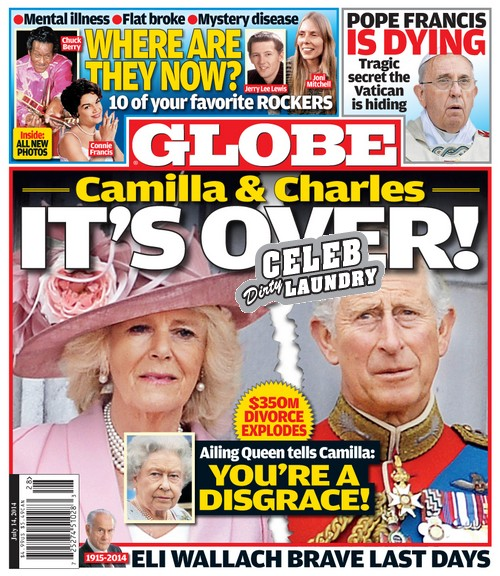 "GLOBE: Camilla Parker-Bowles and Prince Charles $350 Million Divorce - Queen Elizabeth Calls Camilla ""A Disgrace"" (PHOTO)"