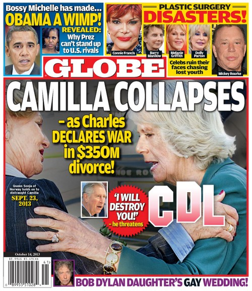 GLOBE: Camilla Parker-Bowles Collapses as Prince Charles Declares War in 350 Million Dollar Divorce (PHOTO)