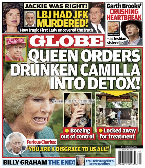 GLOBE: Queen Elizabeth Orders Camilla Parker-Bowles To Locked Rehab - Prince Charles and Royal Family Disgusted By Camilla's Out-of-Control Boozing (PHOTO)