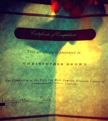 Chris Brown Tweets His Domestic Violence Class Diploma
