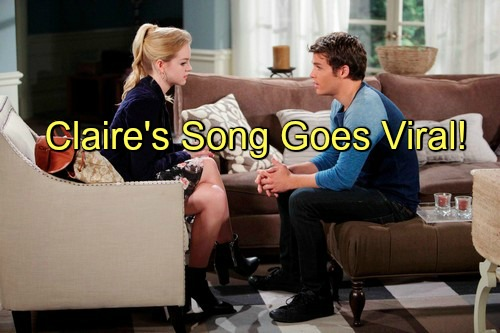 Days of Our Lives (DOOL) Spoilers: Claire's Prom Song Blows Up Online – Teen Sensation Faces Tough Decisions