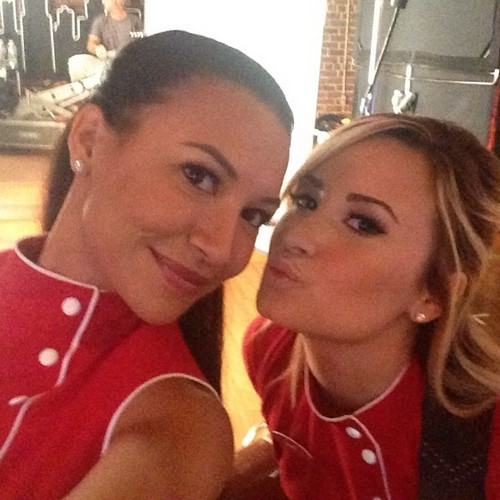 Demi Lovato and Naya Rivera's Red Hot Girl-on-Girl Make Out Session Off Camera Revealed