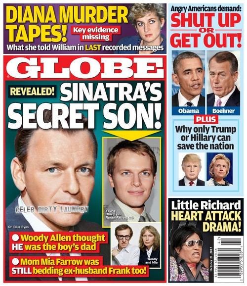 GLOBE: Frank Sinatra's Secret Son Revealed - Mia Farrow Cheated on Woody Allen! (PHOTO)