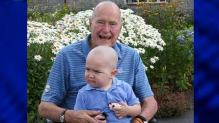 George Bush Shaved Head To Show Support and Solidarity For Young Leukemia Patient