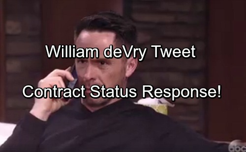 General Hospital Spoilers: William deVry Responds to Contract Status Question on Twitter