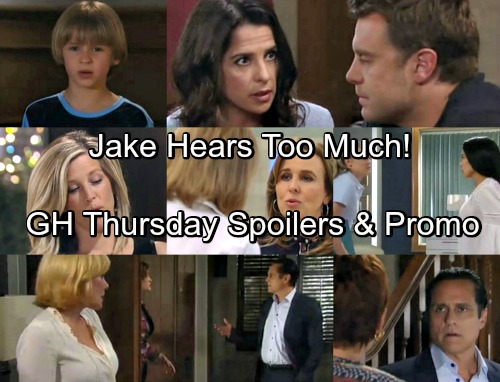 General Hospital Spoilers: Thursday, April 27 - Jake Overhears Too Much - Sonny and Carly Struggle To Divorce - Samira In Crisis