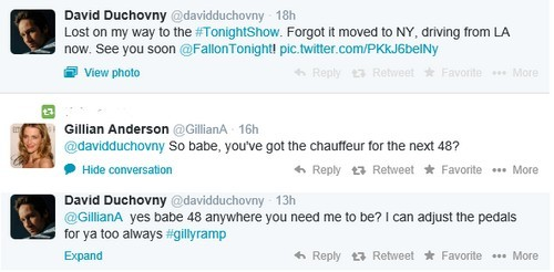 David Duchovny and Gillian Anderson's Love Play On Twitter - Hooking-Up and Living Together in NYC