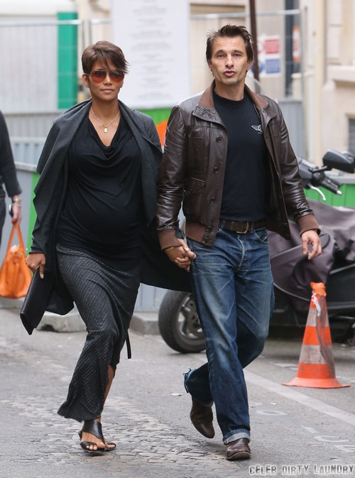 Pregnant Halle Berry & Olivier Martinez Step Out In Paris