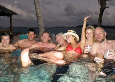 Harry Styles Parties With Harmione Way And Richard Branson