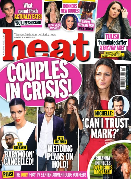Kim Kardashian and Kanye West Babymoon Conflict: Heat Magazine Cover