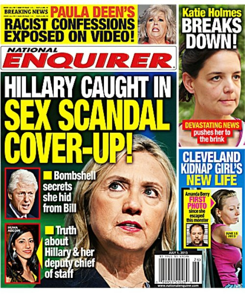 Hillary Clinton In Sex Scandal Cover Up - National Enquirer (Photo)