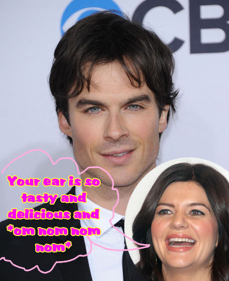 Ian Somerhalder Licked, Kissed, and Fondled by Casey Wilson: He's Cheating on Nina Dobrev?