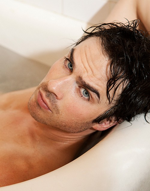 Ian Somerhalder Naked Bathtub Photoshoot - Missing Nina Dobrev? (PHOTOS)