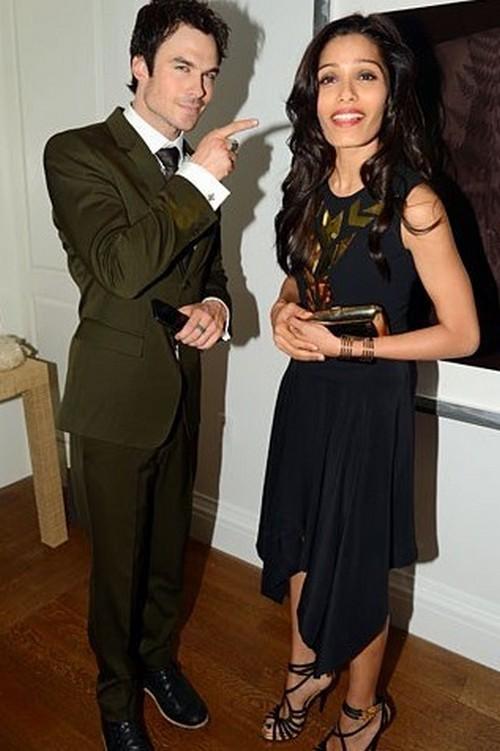 Ian Somerhalder Flirting With Freida Pinto To Make Nina Dobrev Jealous