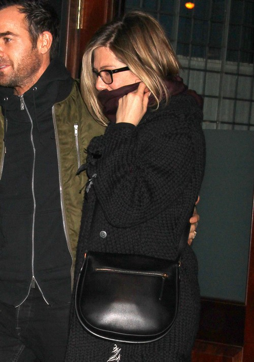 Jennifer Aniston With Justin Theroux Looking Pregnant Sporting Very Obvious PR Baby Bump in NYC (PHOTOS)