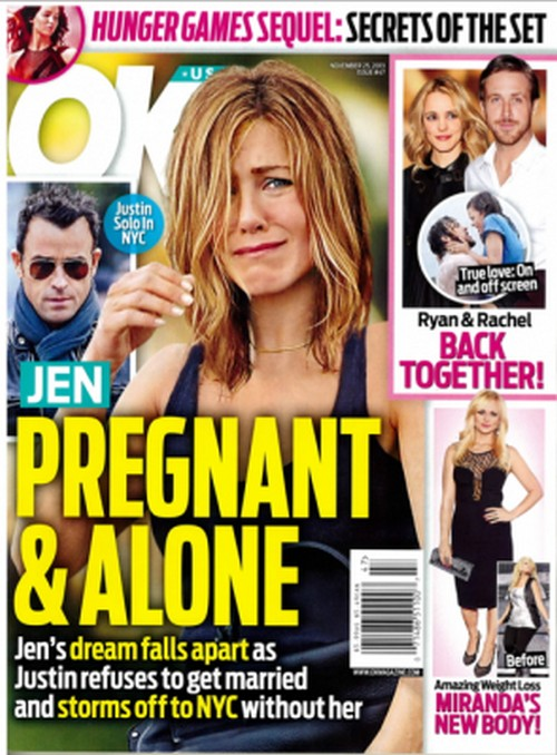 Jennifer Aniston and Justin Theroux Split: Jen Pregnant And Alone - Report