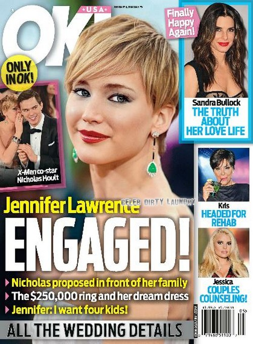 Jennifer Lawrence And Nicholas Hoult Engaged: Engagement Announced on OK! Cover (PHOTO)