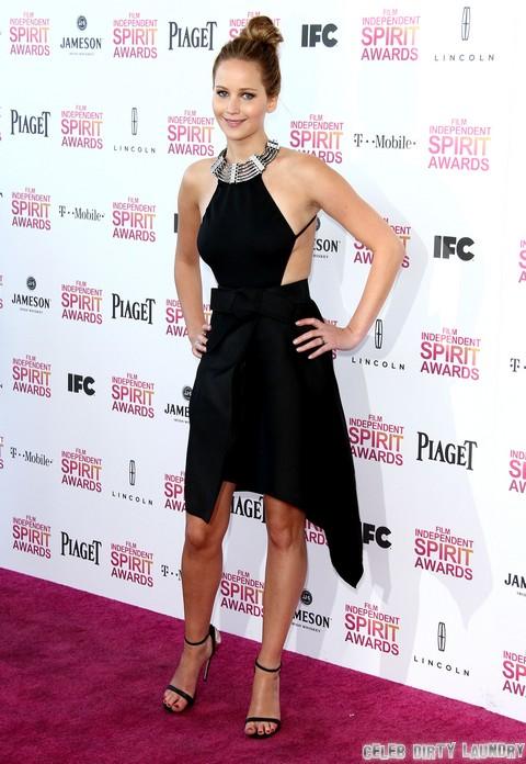 Jennifer Lawrence Sideboob and Scary Skinny: Independent Spirit Photos