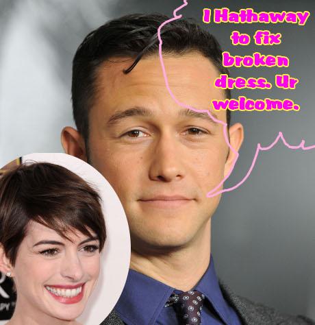 Joseph Gordon-Levitt Saves Anne Hathaway from Another Terrifying, Skin-Revealing Wardrobe Disaster!