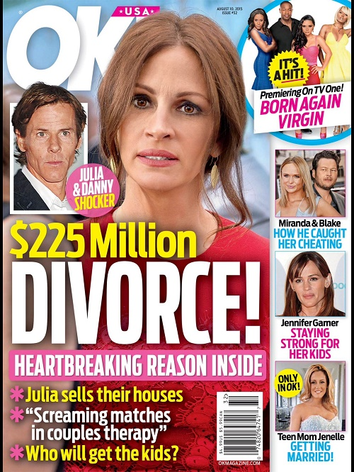 Julia Roberts Divorce: Danny Moder Pulling Plug After 10 Years, Terrified Custody Battle To Ensue Over Three Kids?