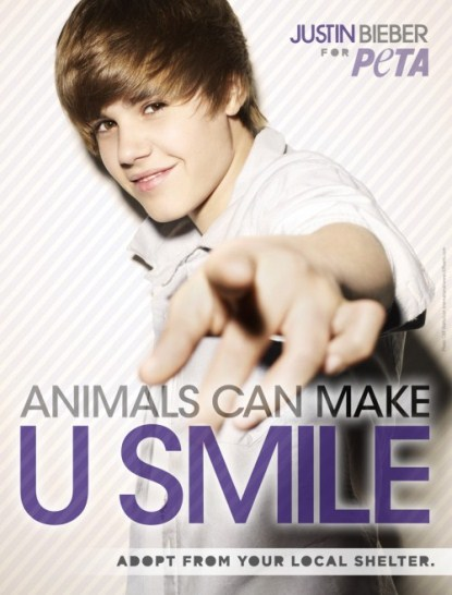 Justin Bieber's New PETA Ad  'Animals Can Make U Smile'