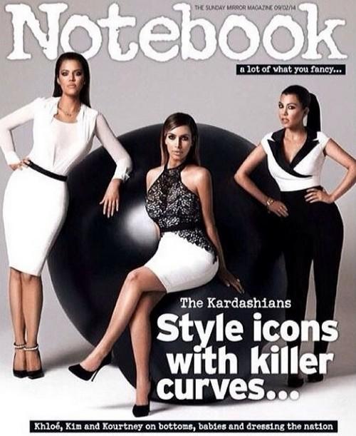Kim Kardashian and Sisters Khloe and Kourtney Atrociously Photoshopped On Notebook Magazine Cover (PHOTO)