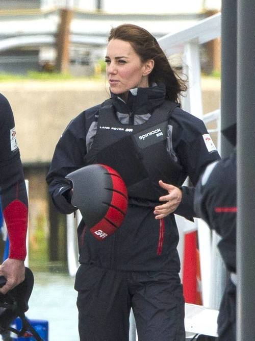 Kate Middleton Sailing Training in Sporty Style: Dons Safety Gear In Land Rover CAT Photos