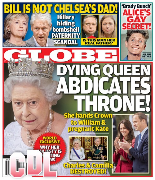 GLOBE: Dying Queen Elizabeth Decides Throne Belongs to Prince William and Pregnant Kate Middleton (PHOTO)