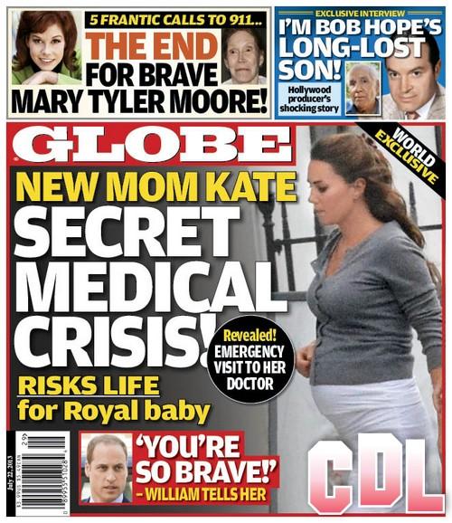 GLOBE: Kate Middleton's Baby Scare - Secret Medical Crisis, Risks Life For Baby