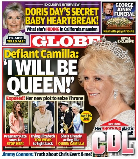 "GLOBE: Camilla Parker-Bowles Says ""I Will Be Queen!"" as Kate Middleton Protests and Queen Elizabeth's Health Fails"