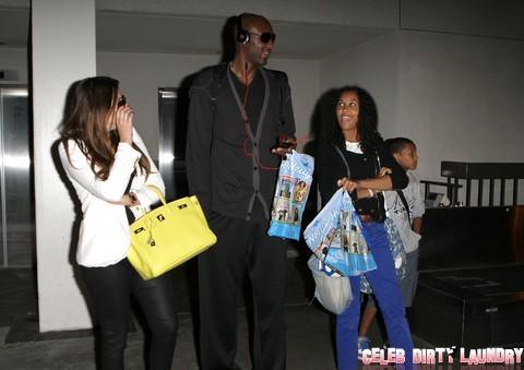 Khloe Kardashian And Lamar Odom Arriving On A Flight At LAX