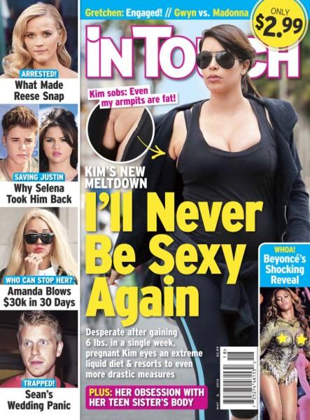 Kim Kardashian Cancels Naked Baby Bump Photo Shoot, Fears She'll Never Be Sexy Again! 0424