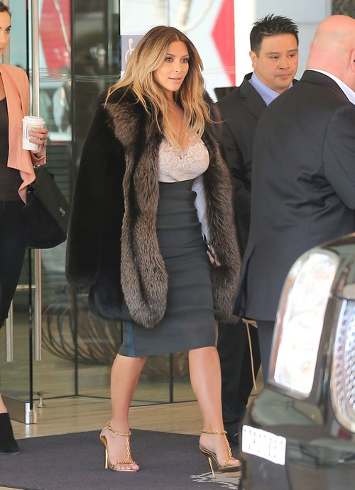 Kim Kardashian in Fur Coat With Kris Jenner But Again Without North West: PETA Upset at Post Engagement Photo-Op