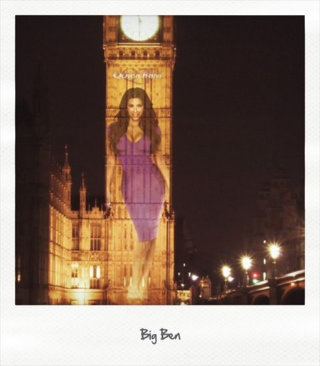 PHOTOS: A giant Kim Kardashian on Big Ben in London to launch Quick Trim in the U.K.