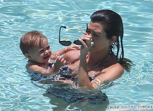Kourtney Kardashian and Penelope Scotland Disick Go Swimming! (Photos)