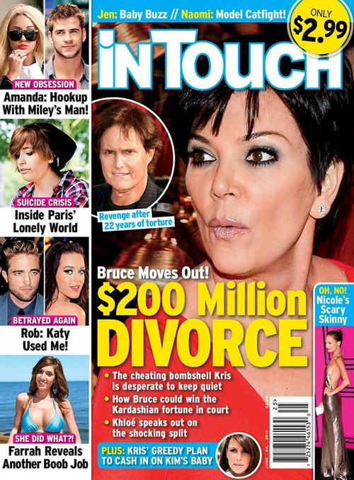 Bruce Jenner Demands Divorce From Kris Jenner - Catches Kris Cheating Wants $200 Million Settlement (PHOTO)