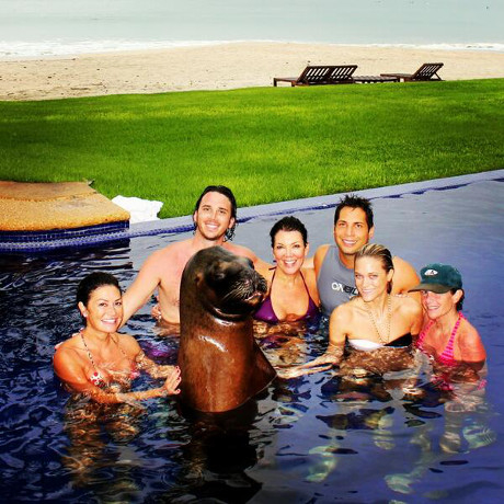 Kris Jenner & Ben Flajnik Have Sexy Pool Party with a Real Sea Lion in Mexico! (PHOTO)