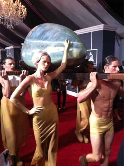 Lady GaGa Arrives At the 2011 Grammy's Incubating In An Egg